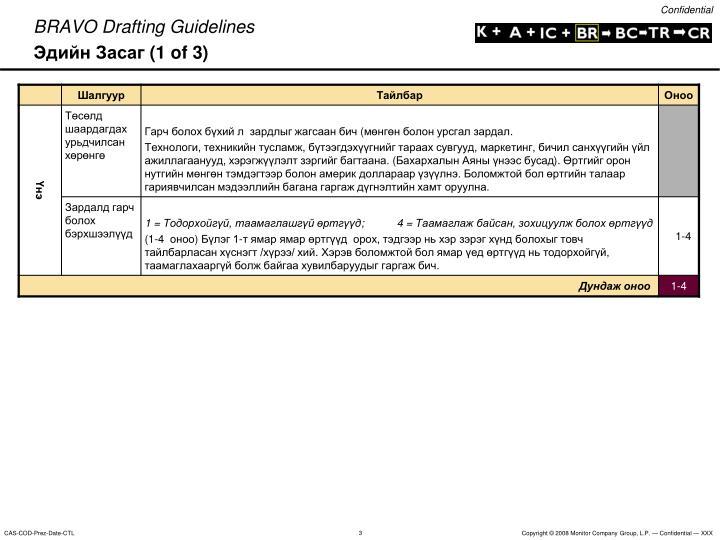 Bravo drafting guidelines 1 of 3