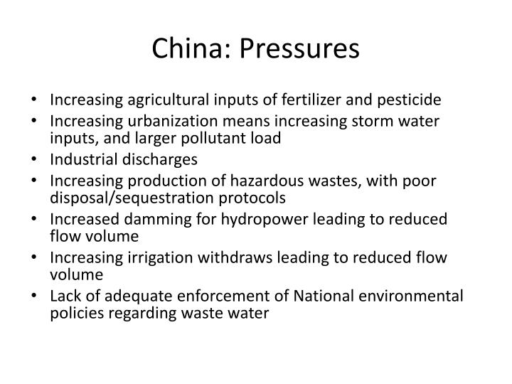 China: Pressures