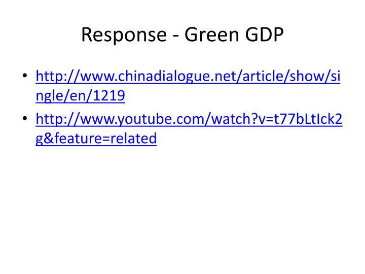 Response - Green GDP