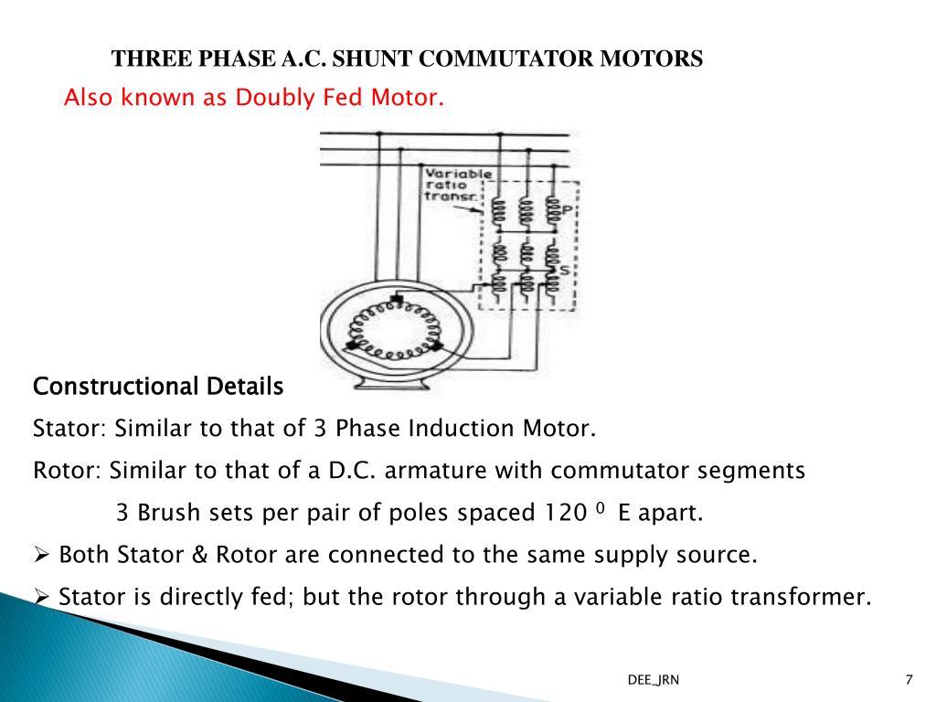 PPT - THREE PHASE A.C. COMMUTATOR MOTORS PowerPoint ... Ac Commutator Motor Wiring Diagram on