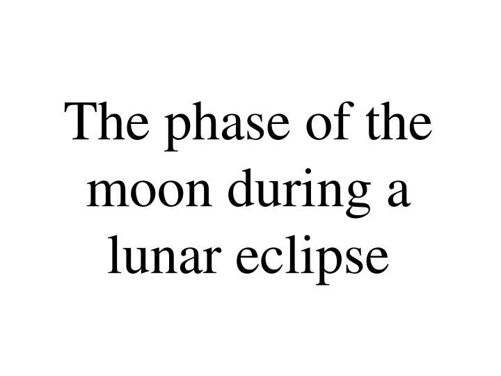 The phase of the moon during a lunar eclipse