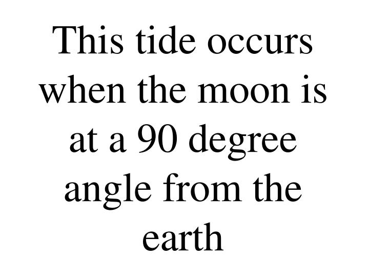 This tide occurs when the moon is at a 90 degree angle from the earth
