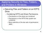 applying security to files folders and printers in windows2