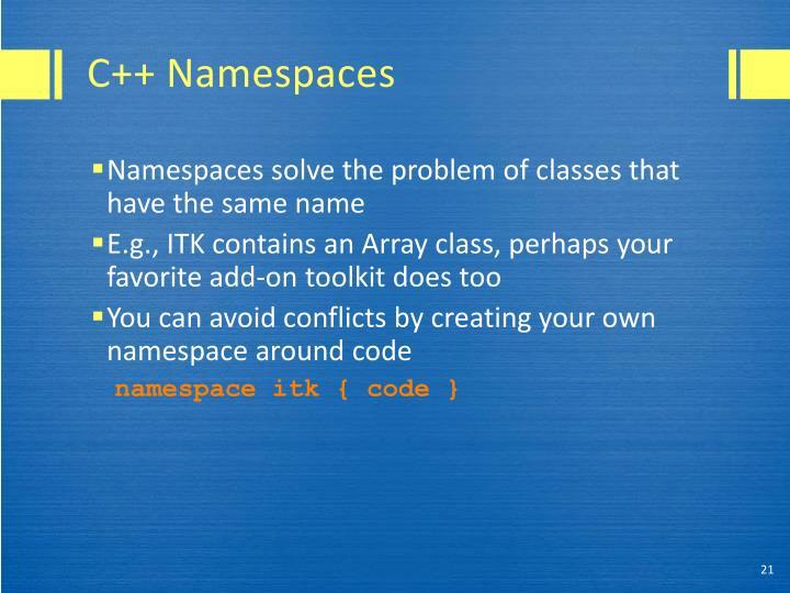 C++ Namespaces