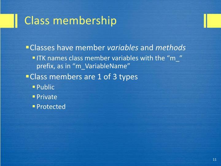 Class membership
