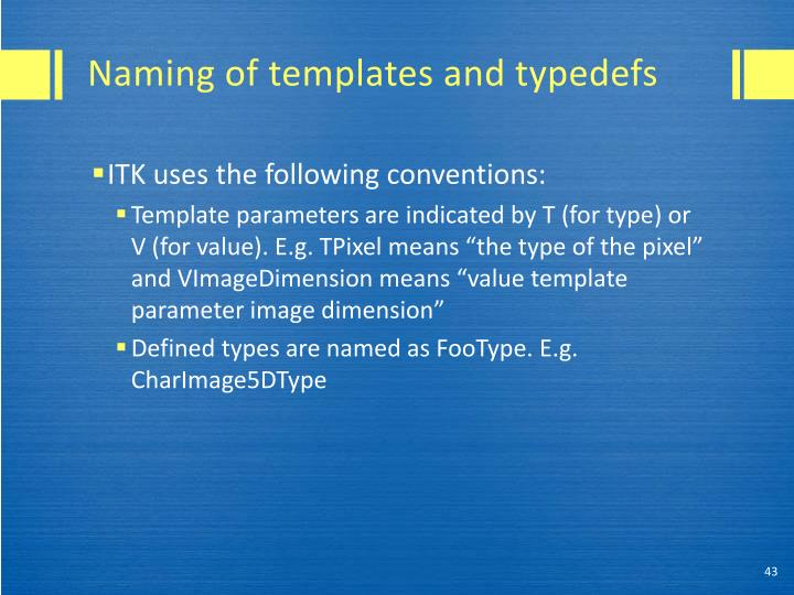 Naming of templates and typedefs