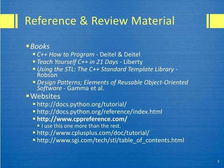 Reference & Review Material