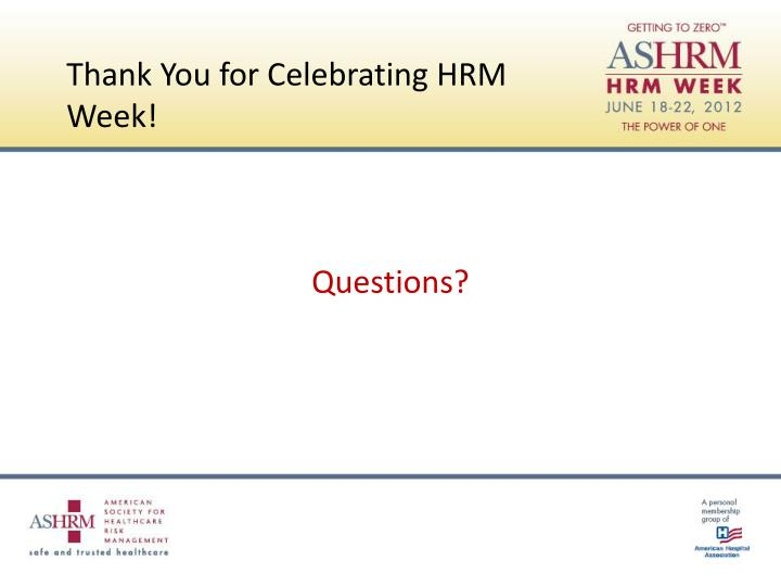 Thank You for Celebrating HRM Week!