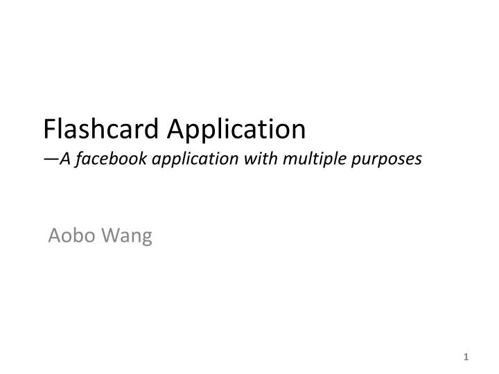 flashcard application a facebook application with multiple purposes n.