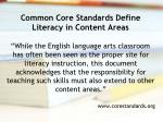 common core standards define literacy in content areas