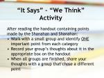 it says we think activity