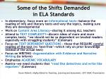 some of the shifts demanded in ela standards