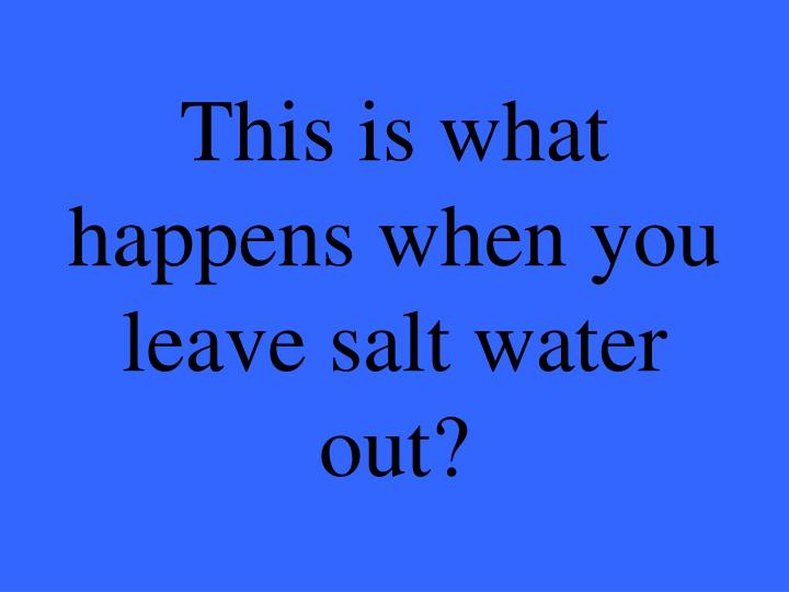 This is what happens when you leave salt water out?