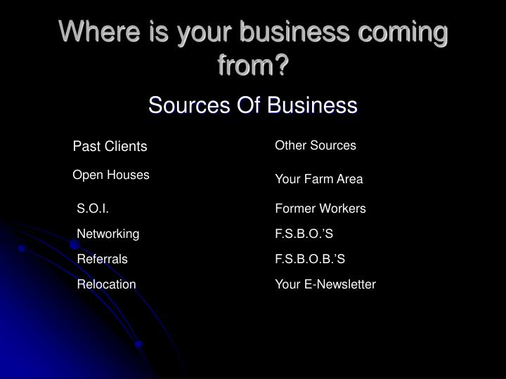 Where is your business coming from?