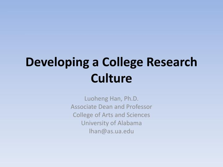 developing a college research culture n.