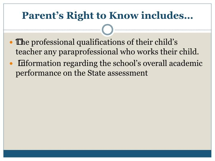 Parent s right to know includes