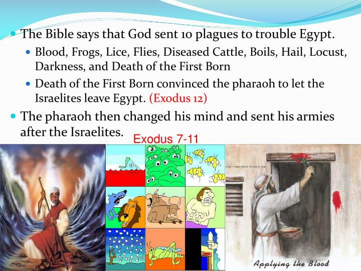 The Bible says that God sent 10 plagues to trouble Egypt.