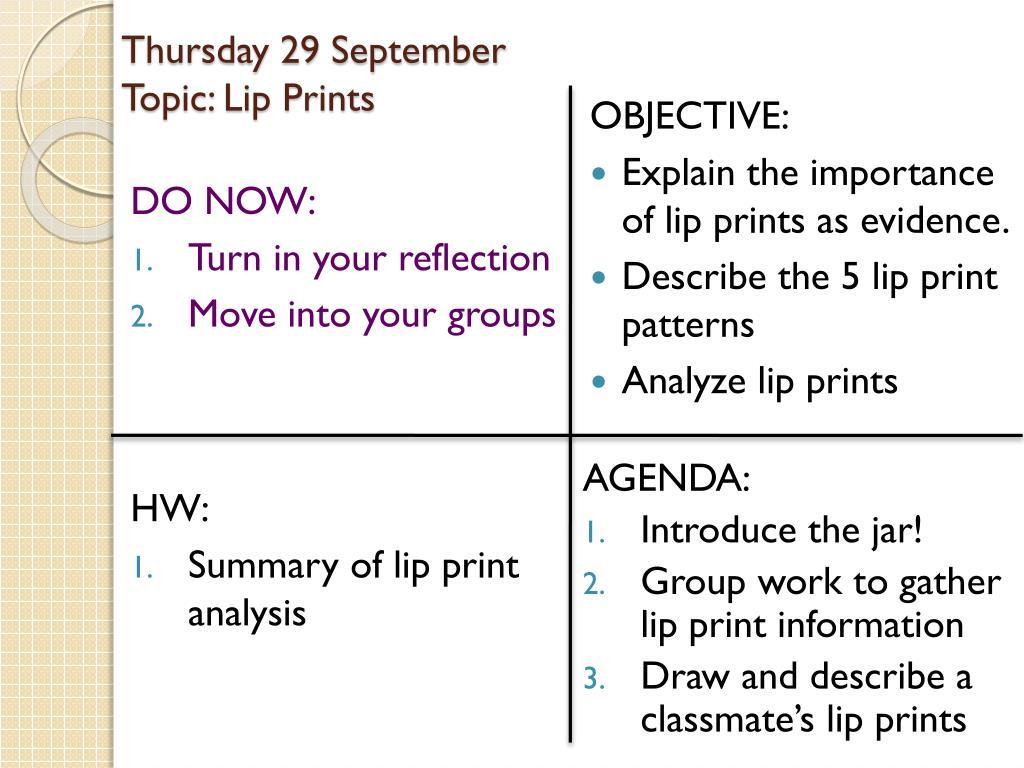 ppt thursday 29 september topic lip prints powerpoint