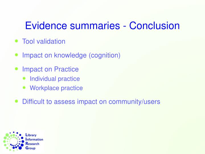 Evidence summaries - Conclusion