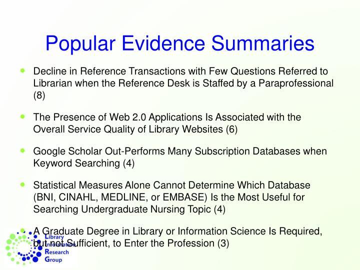 Popular Evidence Summaries