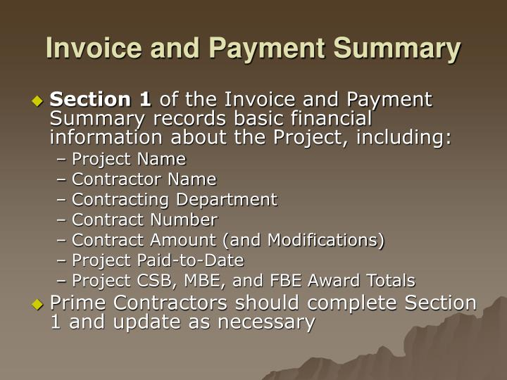 Invoice and Payment Summary