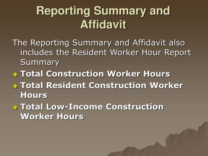Reporting Summary and Affidavit