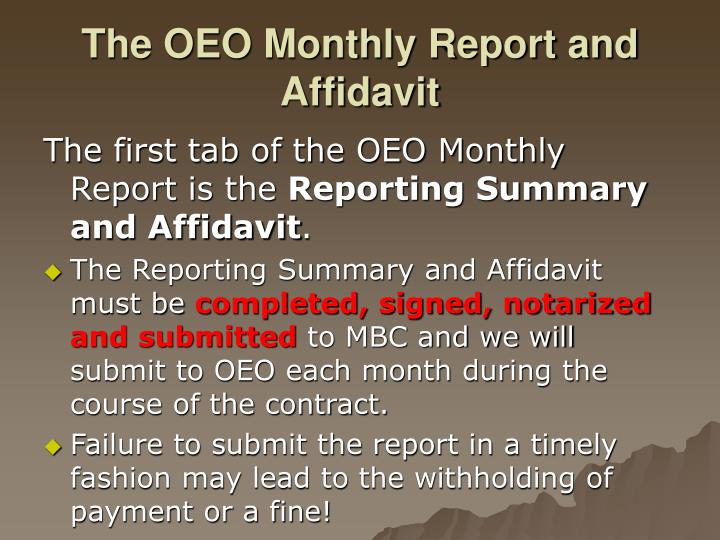 The oeo monthly report and affidavit1