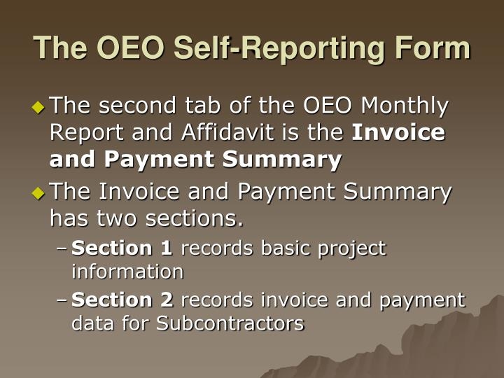 The OEO Self-Reporting Form