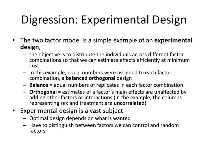 Digression: Experimental Design