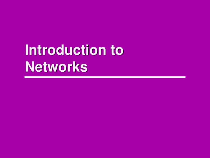 introduction to networks n.