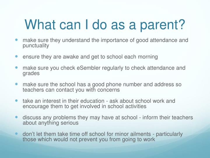 What can I do as a parent?