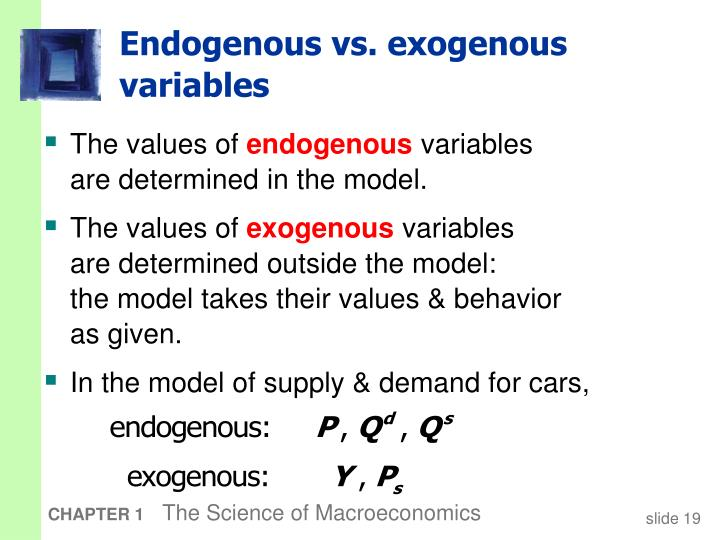 do endogenous or exogenous shocks have Not quite sure what you're trying to do, but if you want to see how the endogenous variables change with a shock to an exogenous variable, the only way to do it is by turning your var into a model, solving the model, then change the value of the exogenous variable and go again.