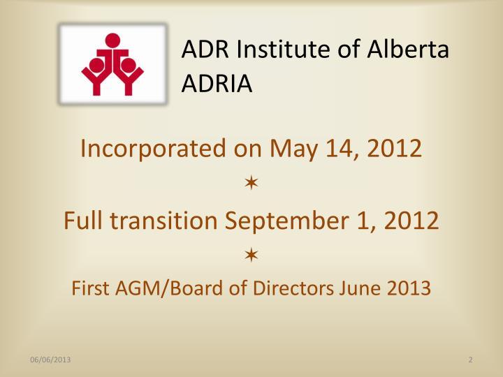 Adr institute of alberta adria
