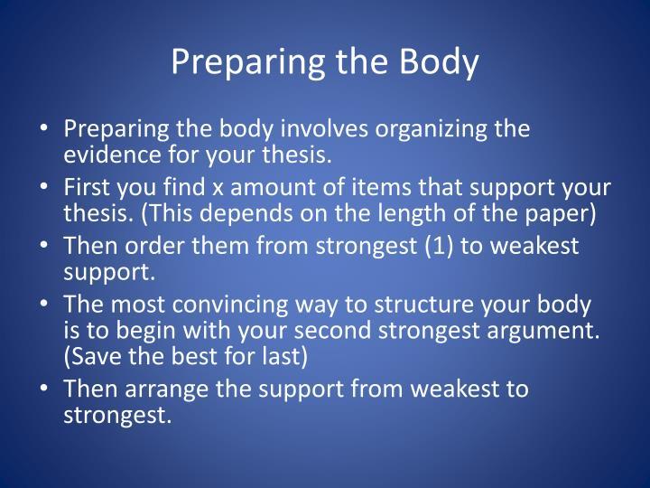 Preparing the Body