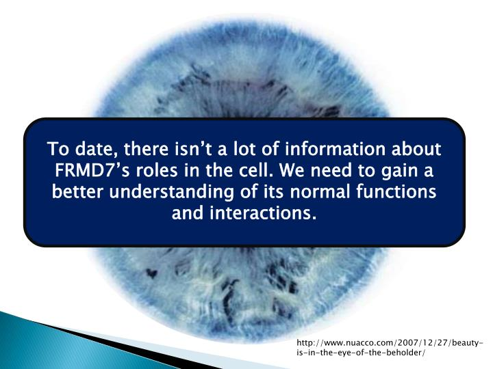 To date, there isn't a lot of information about  FRMD7's roles in the cell. We need to gain a better understanding of its normal functions and interactions.