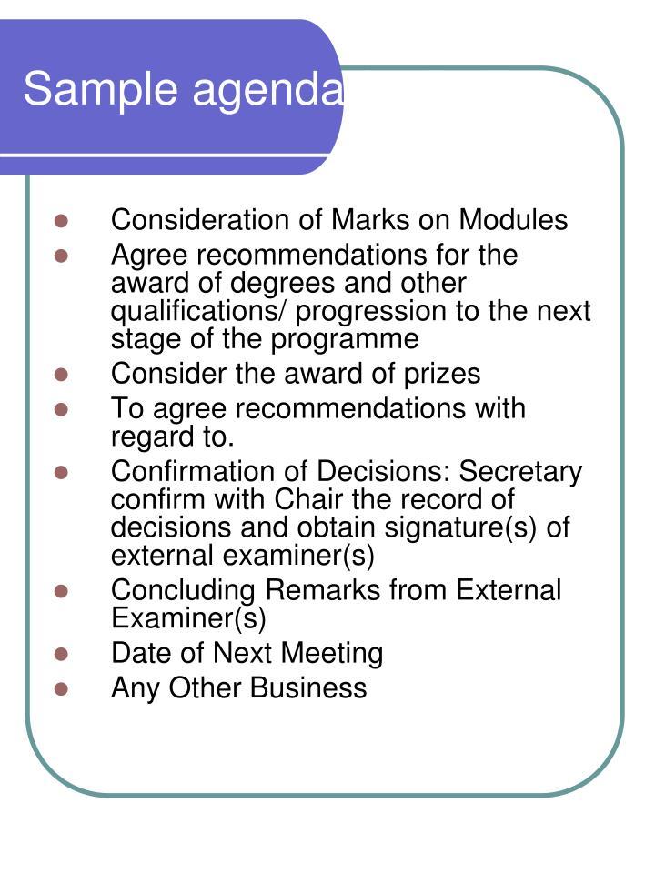 Sample agenda for BoEs