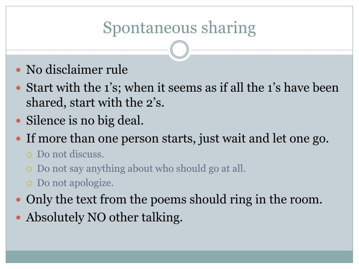 Spontaneous sharing