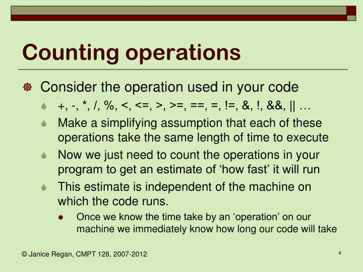 Counting operations
