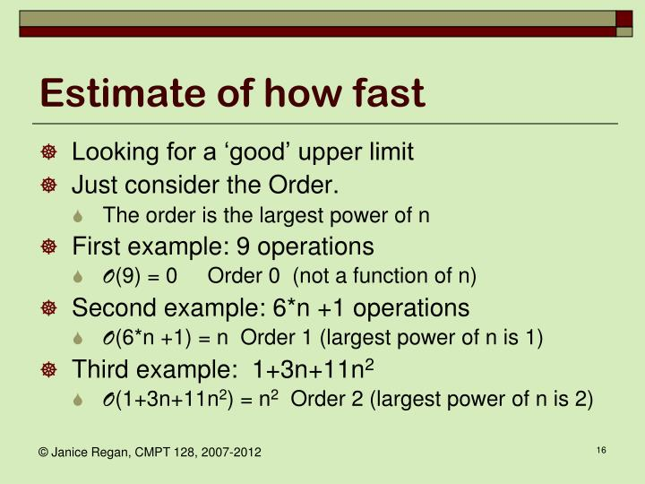 Estimate of how fast