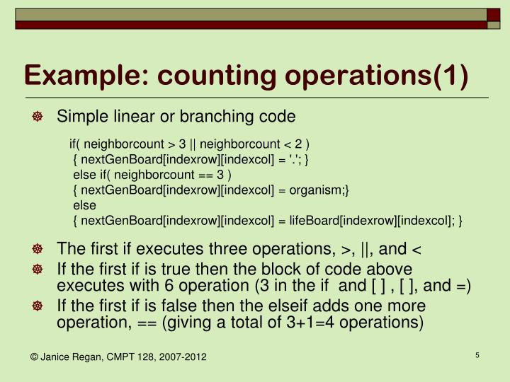 Example: counting operations(1)