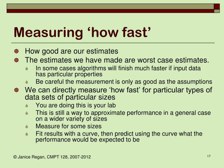Measuring 'how fast'
