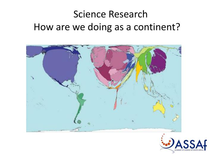 Science research how are we doing as a continent