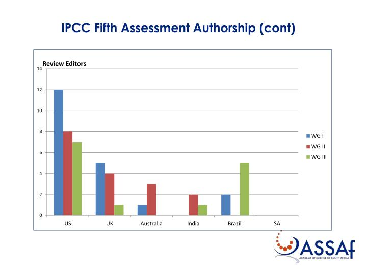 IPCC Fifth Assessment Authorship (cont)