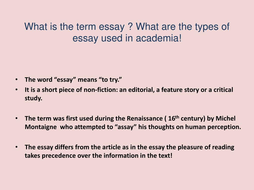 ppt   introduction to essay types powerpoint presentation   id what is the term essay  what are the types of essay used in