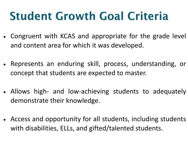 Student Growth Goal Criteria