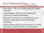 team meeting roles