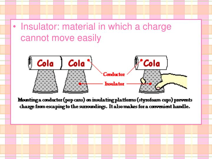 Insulator: material in which a charge cannot move easily