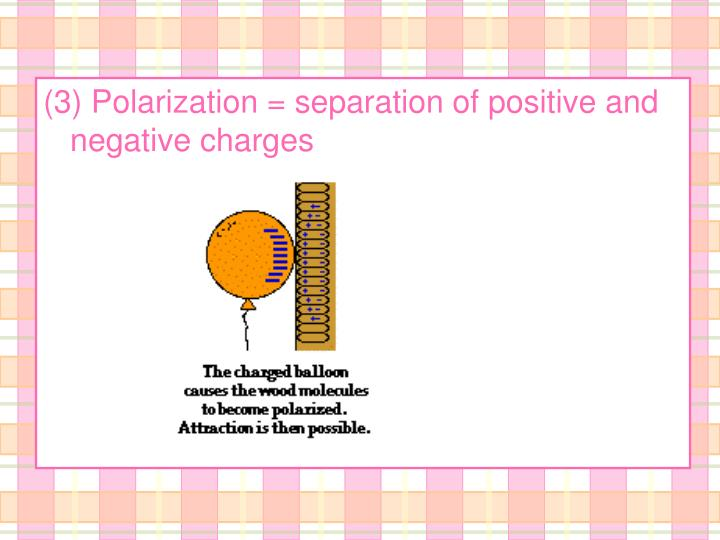 (3) Polarization = separation of positive and negative charges