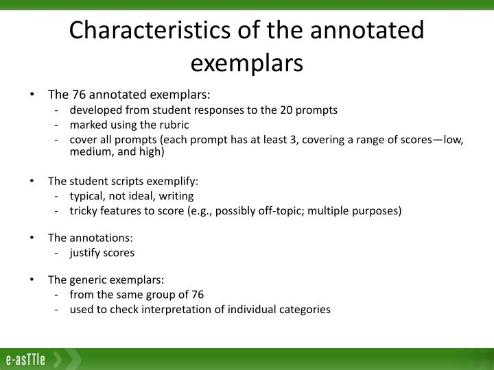 Characteristics of the annotated exemplars