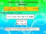 partial fraction expansions method 1